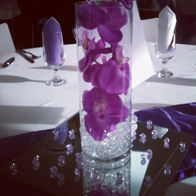 wedding centrepiece radiant orchid