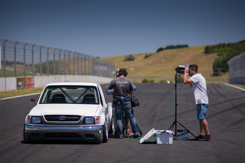 On set as Cox as his team capturing the final drive sequence at Hampton Raceway as part of the 4 & Rotary Nationals in Auckland this year. Photo Credit: ROO WILLS