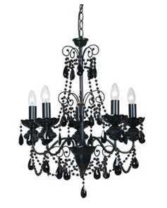 Mercator, Charlotte Black Crystal 5 Light Chandelier, Oz Lighting